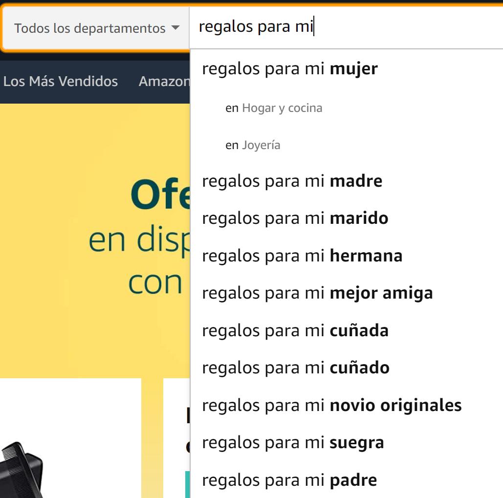 Herramientas de palabras clave - Autocompletar Amazon