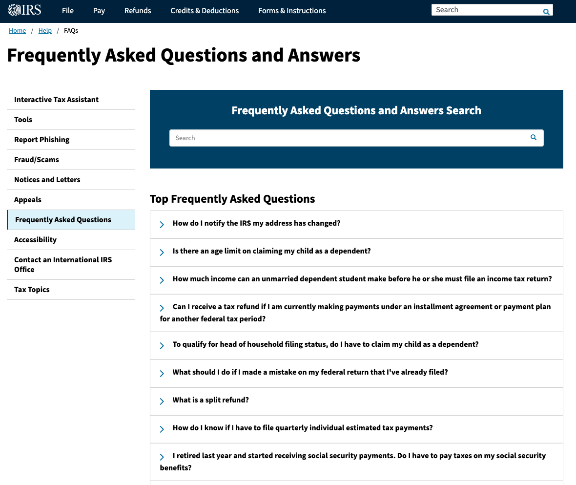 IRS FAQ page example
