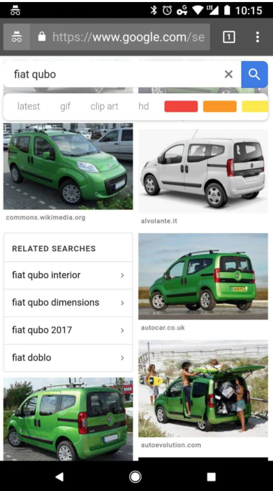 related searches in mobile image search