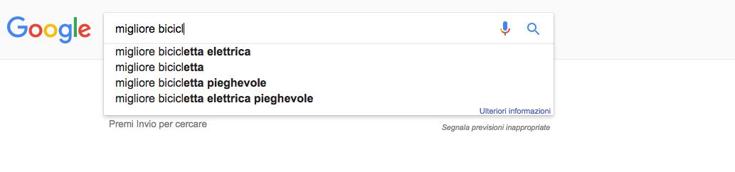 Idee per scrivere contenuti grazie al completamento automatico di Google