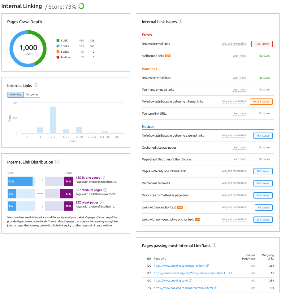 How to audit your internal linking with Site Audit
