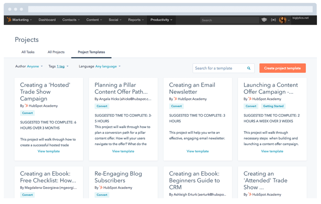 Project Management Tools for Marketing Agencies: HubSpot