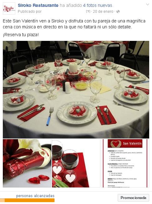 Redes Sociales para restaurantes - Post promocionado en Facebook