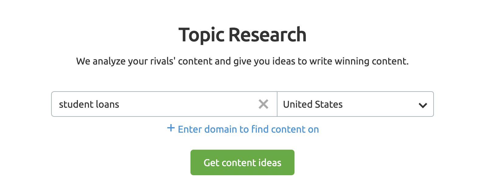 SEMrush Topic Research Tool screenshot