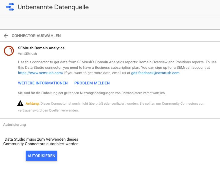 Integration von SEMrush und Google Data Studio - Anleitung. Bild 0