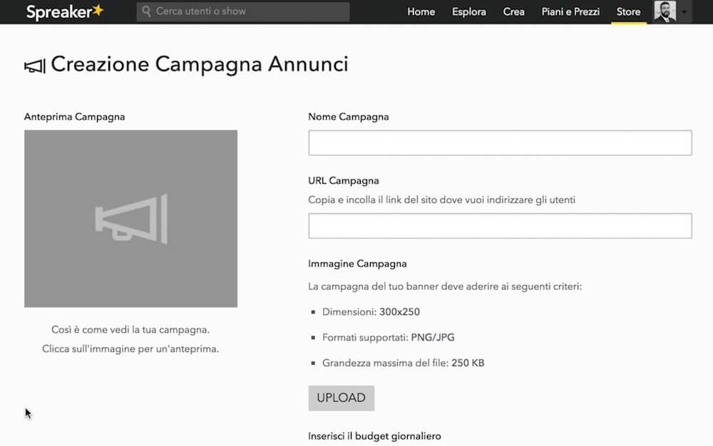 Organizzare una campagna su Spreaker è facile e veloce