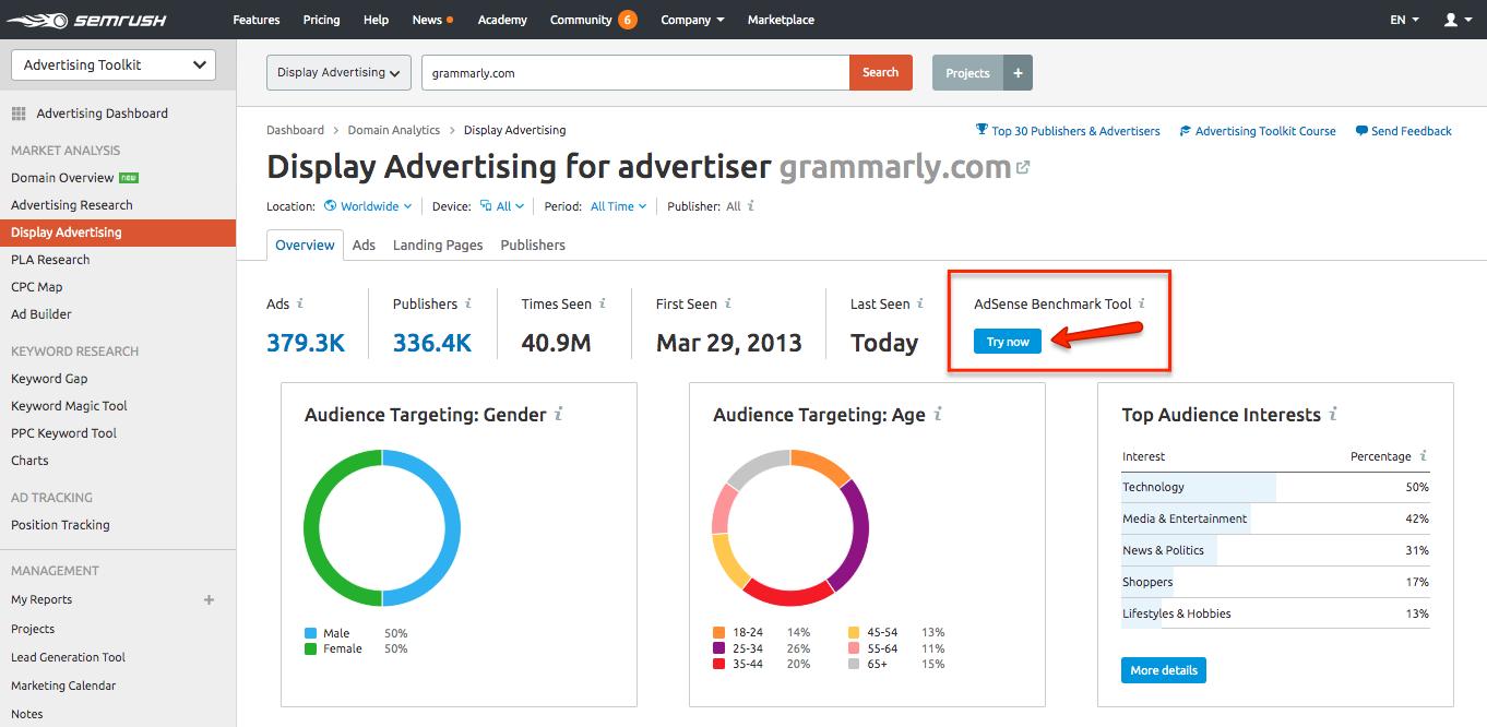 AdSense Benchmark Tool