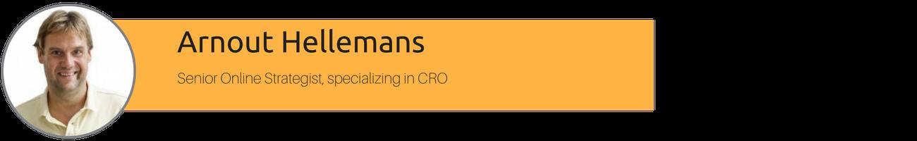 Arnout Hellemans, Senior Online Strategist, specializing in CRO