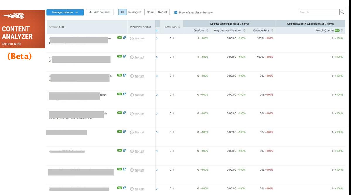 Potatura sito web: analisi delle pagine con Content Analyzer