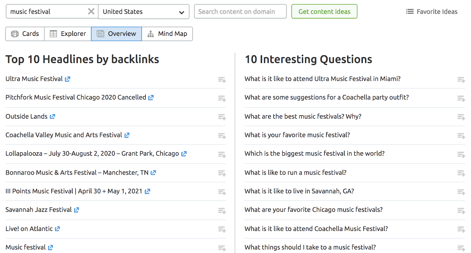 How to expand a list of keyword using Topic Research