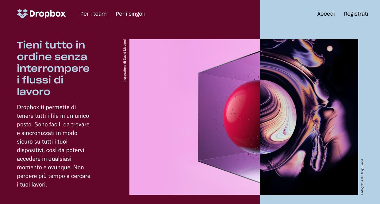 Design asimmetrico sul sito di Dropbox
