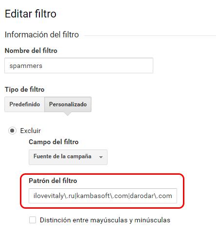 Cómo crear un filtro para varios spammers con una expresión regular