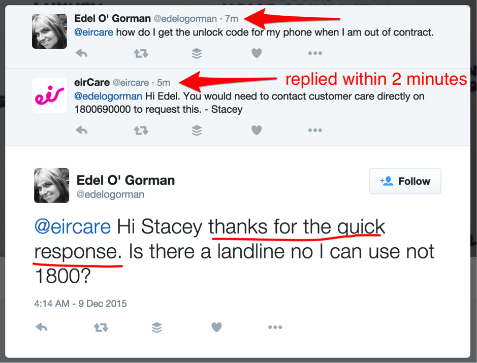 Quick response to client via Twitter