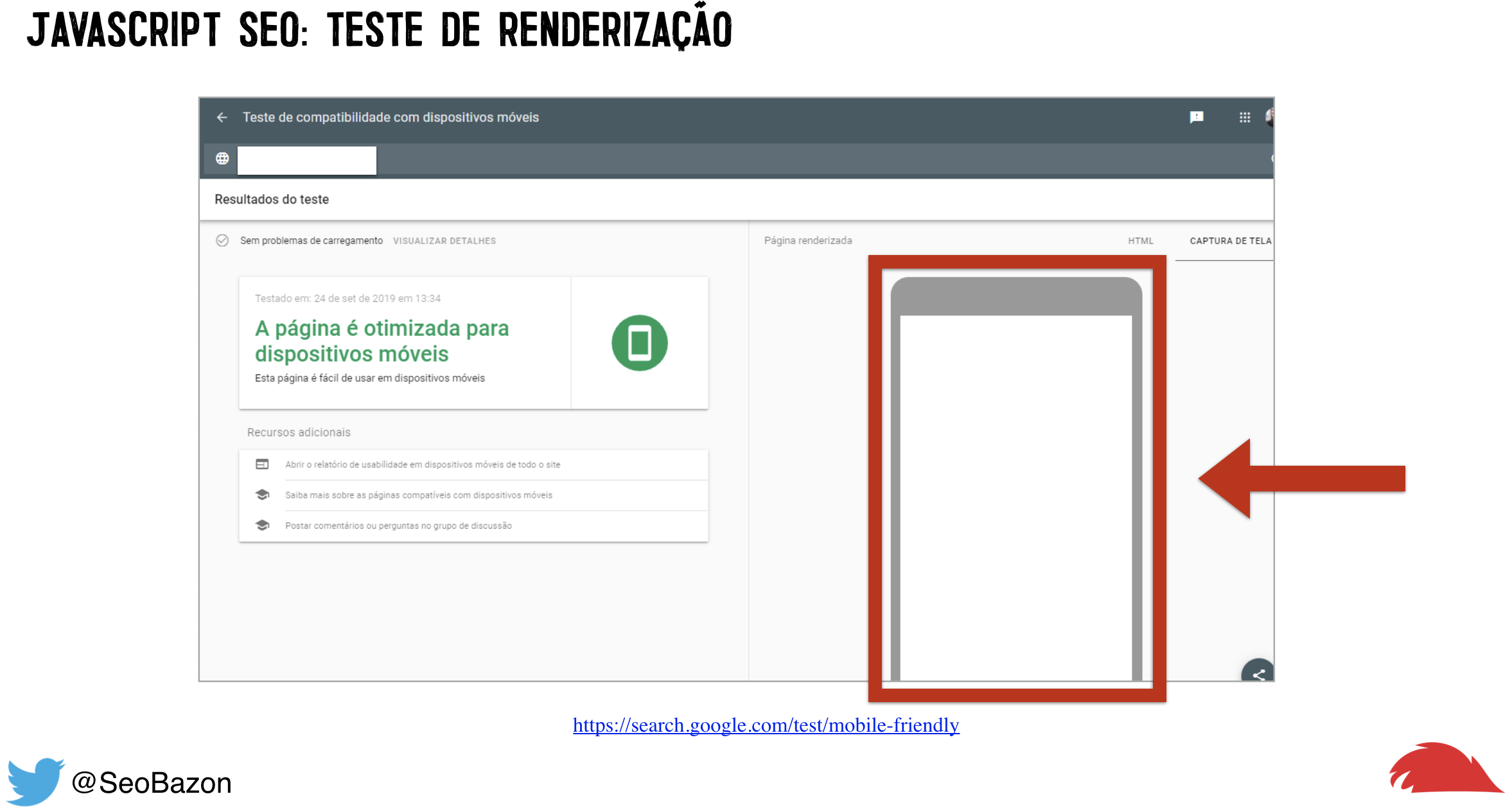 teste de renderizacao com mobile friendly test tool