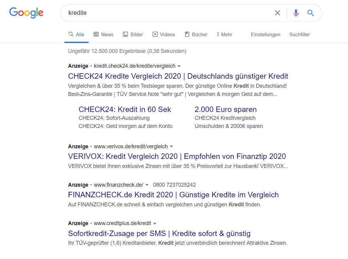 """Suchergebnisse für Keyword """"Kredite"""""""