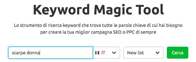 Il keyword magic tool di semrush