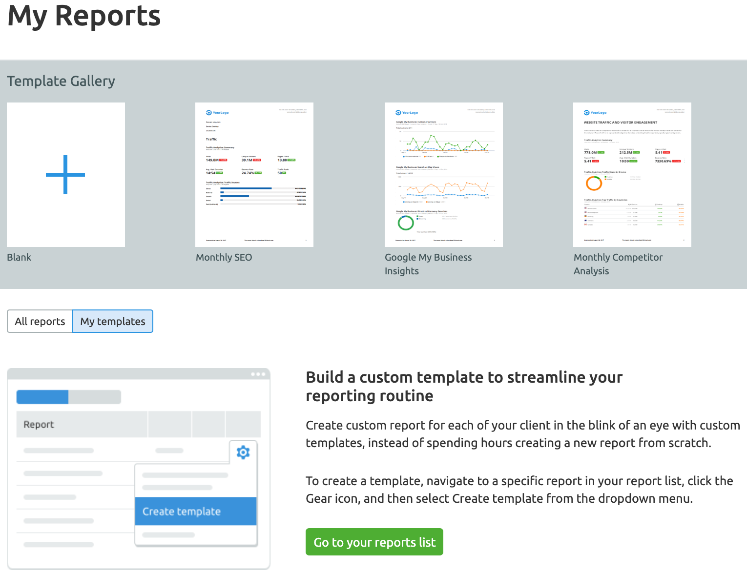 Reporting Tools for Marketing Agencies: SEMrush My Reports