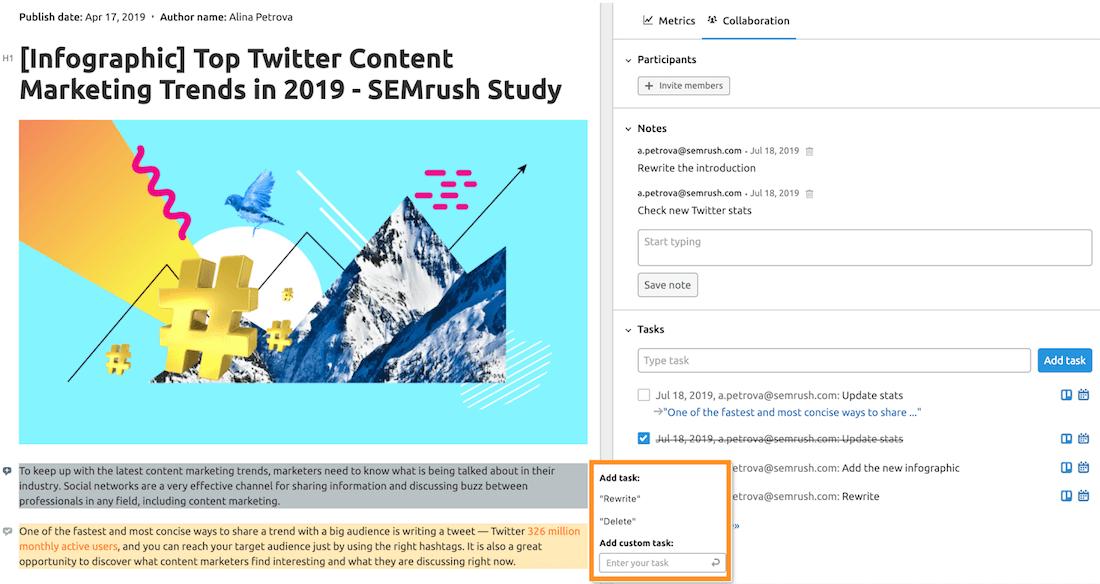 Come aggiornare un post direttamente dal content audit di semrush