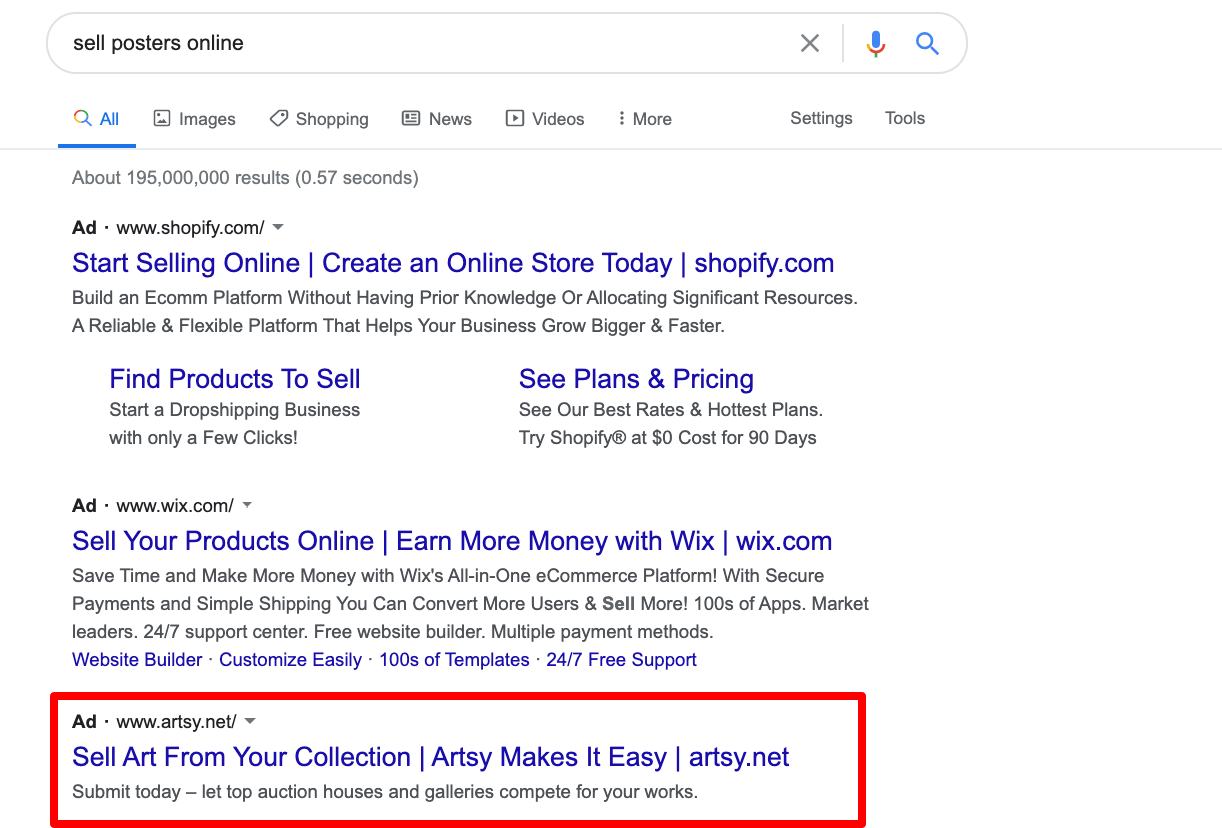 Example of ads in search (SERP)