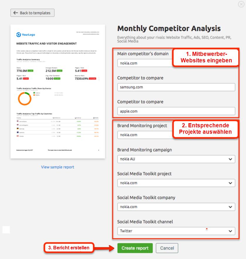 Monthly Competitor Analysis: Daten eingeben