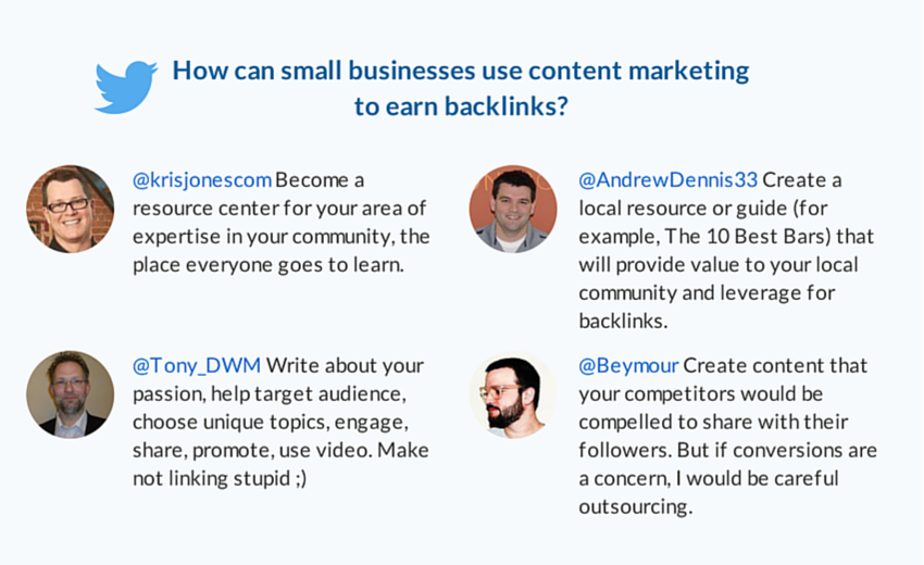 how can small businesses use content marketing to earn backlinks