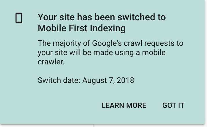 switch to Mobile first indexing