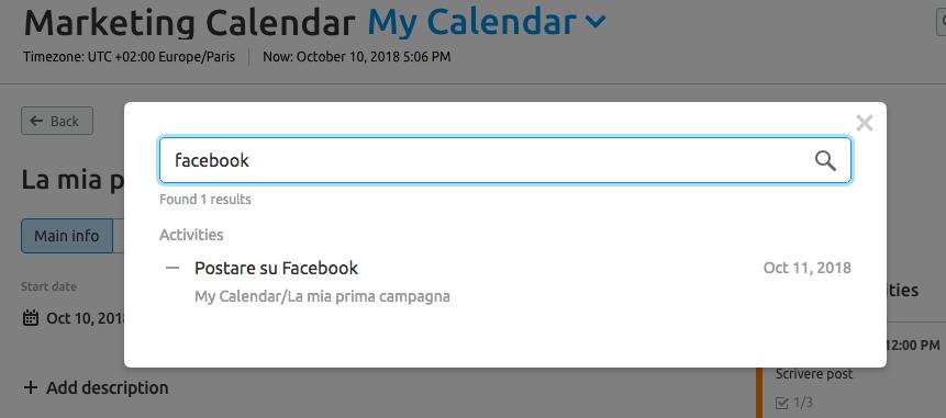 Usa la funzione di ricerca di Marketing calendar per ritrovare ogni campagna, task o attività