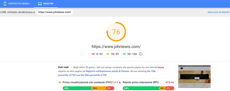 risultato di velocità per la pagina da desktop