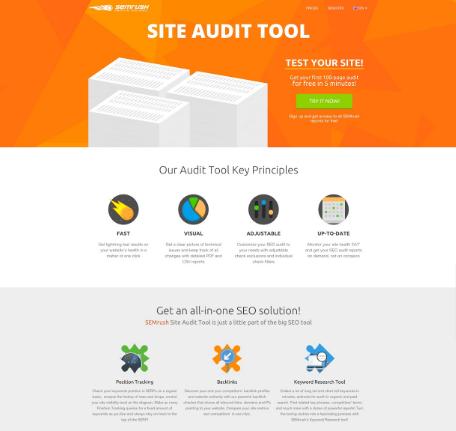 SEMrush Site Audit experiment - before