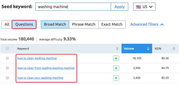 SEMrush Keyword Magic tool - Question filters