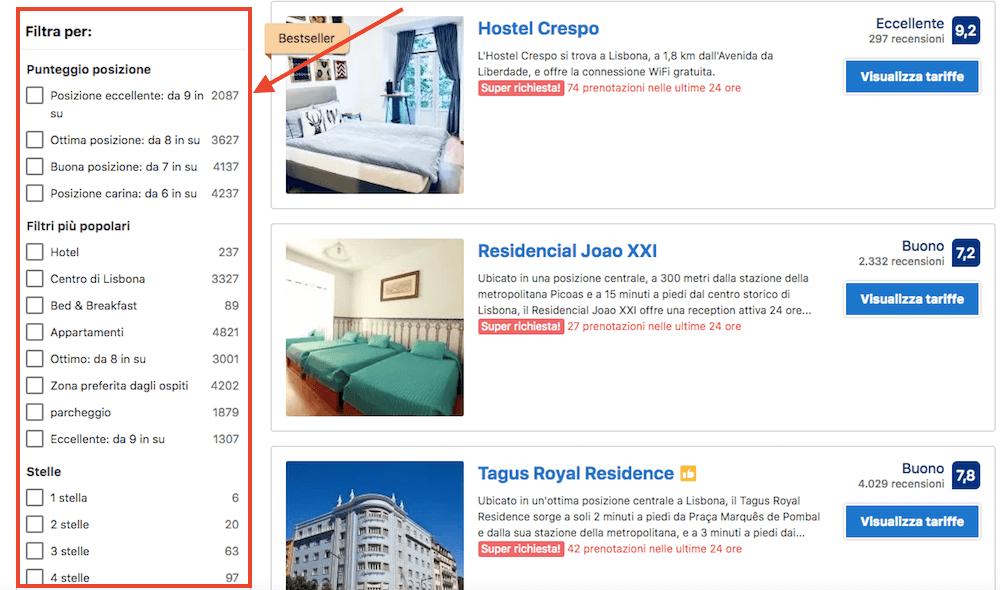Sito di Booking.com: struttura intuitiva