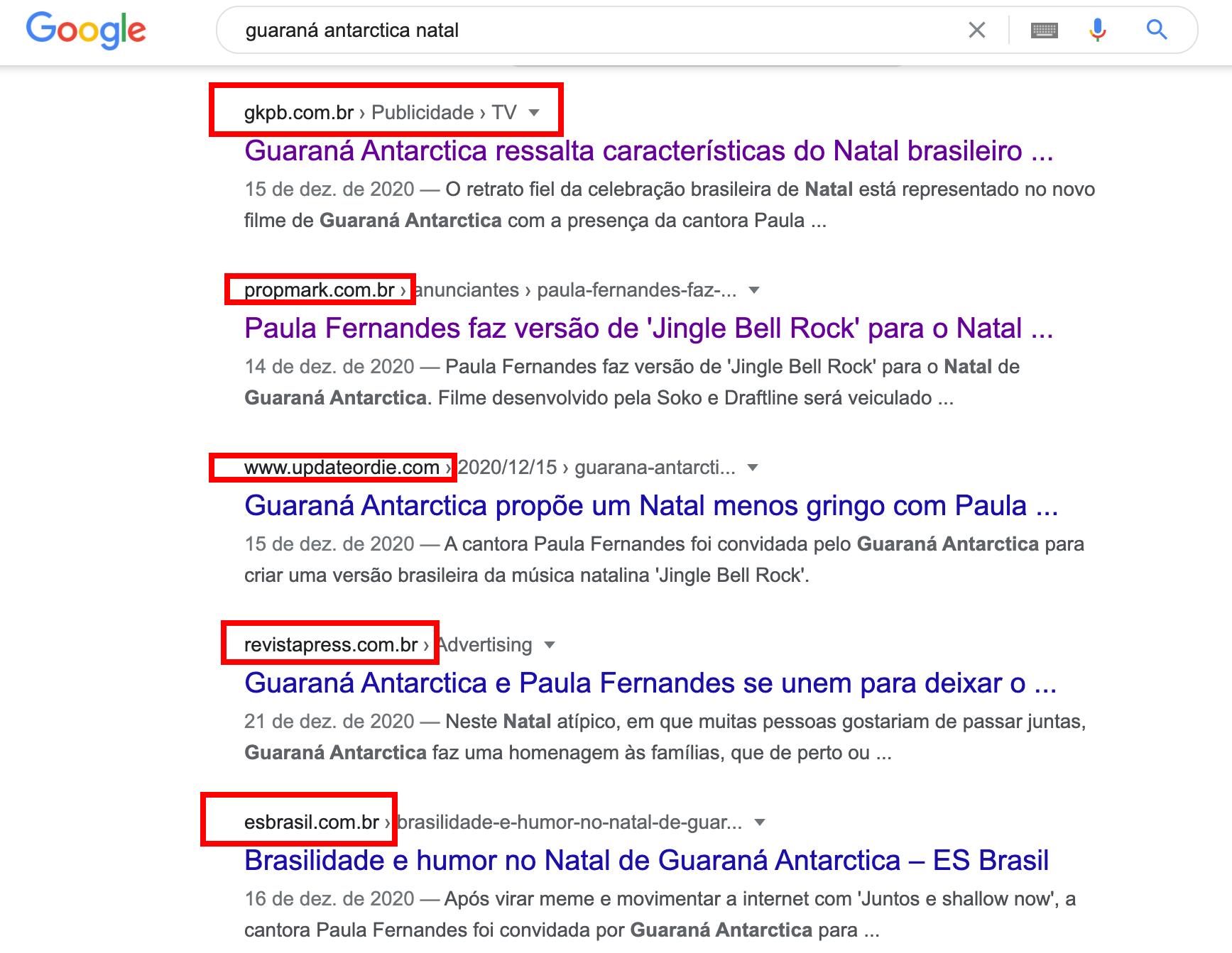 Campanha de Natal Guaraná Antarctica buscas no Google