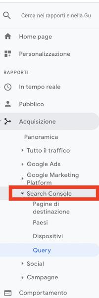 report acquisione, search console