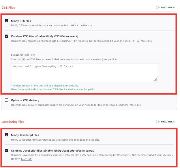 css and javascript minification via wp-rocket example
