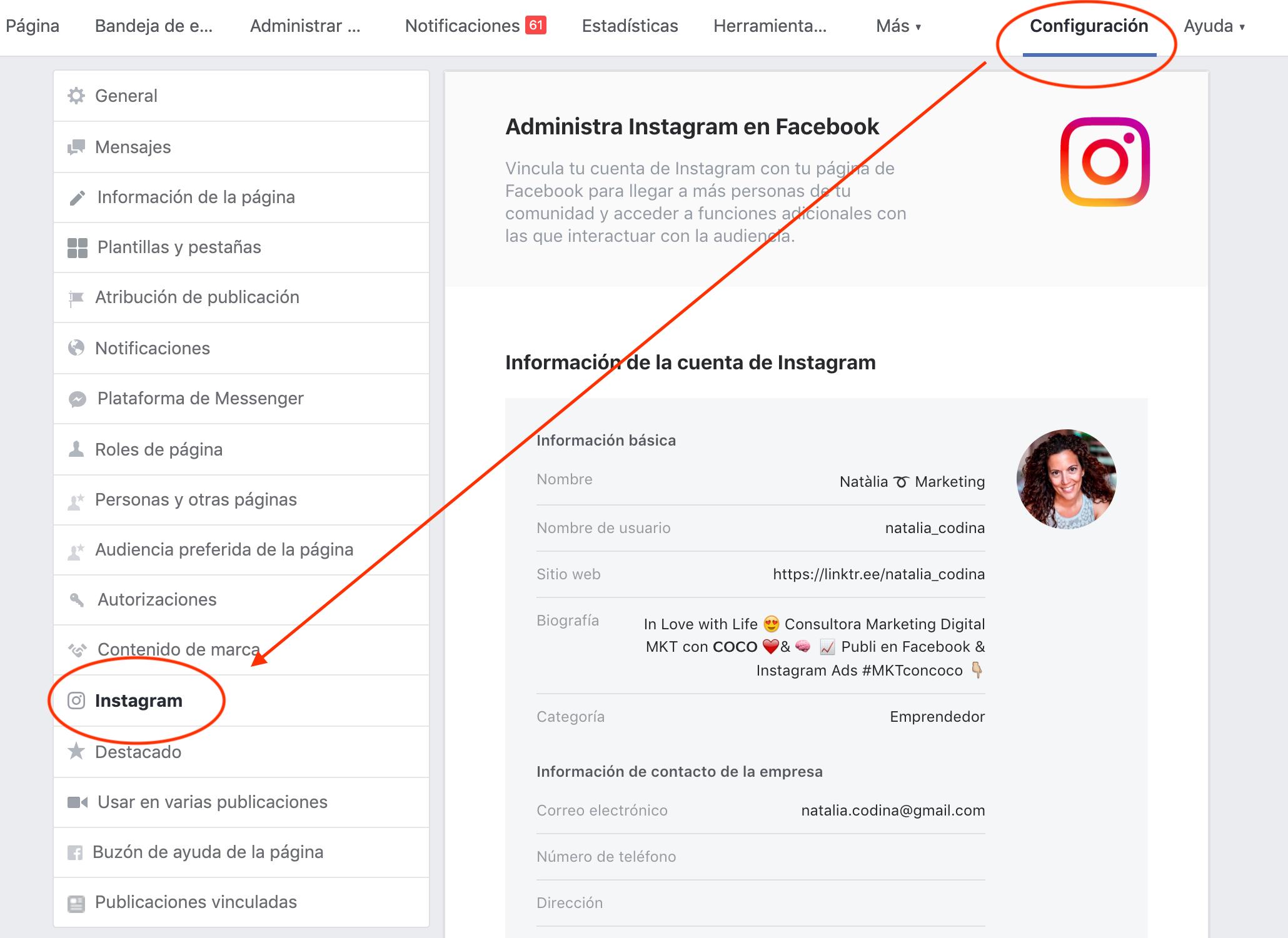 Instagram Ads - vincular cuenta de Facebook a Instagram