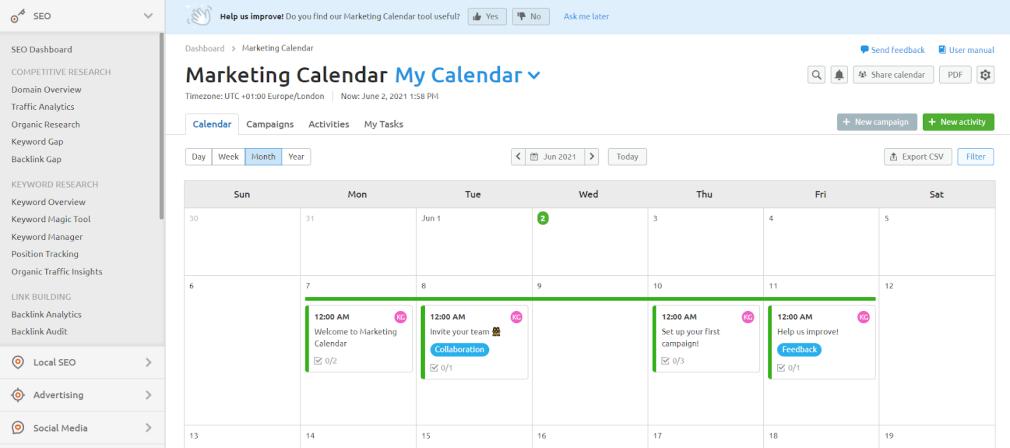 content calendar examples