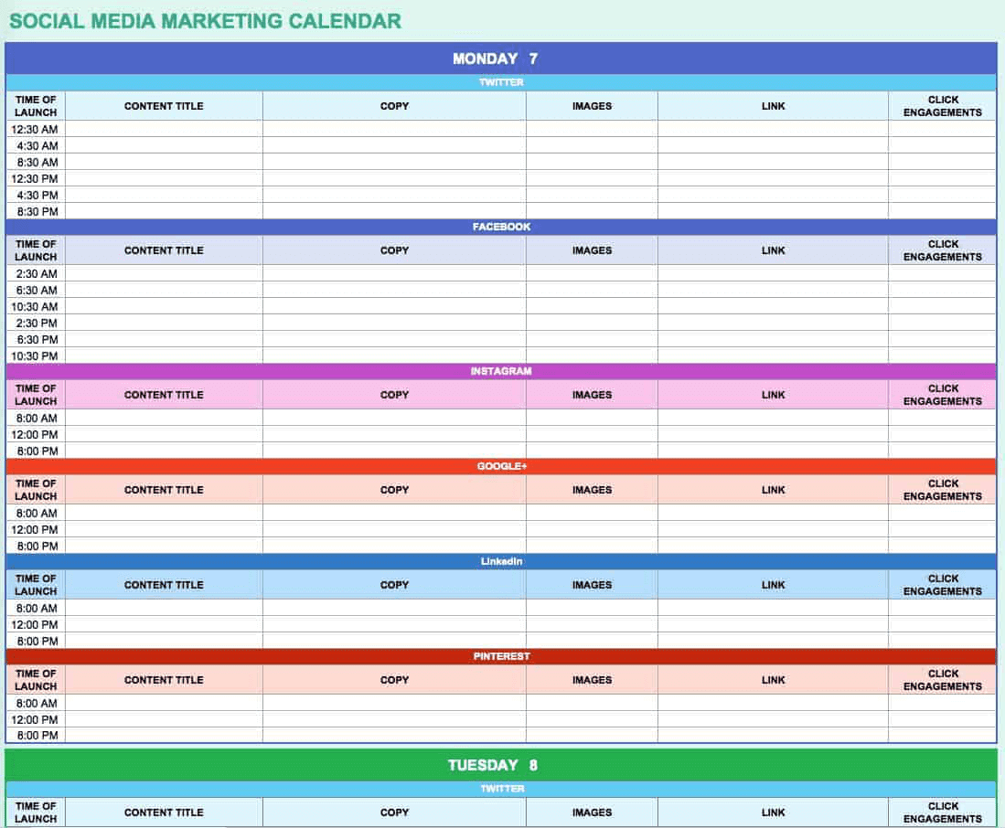 Using Excel to create a content calendar.