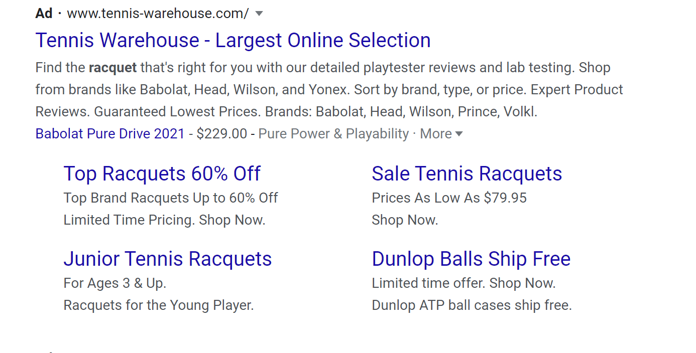 tennis racquets paid ad on serp