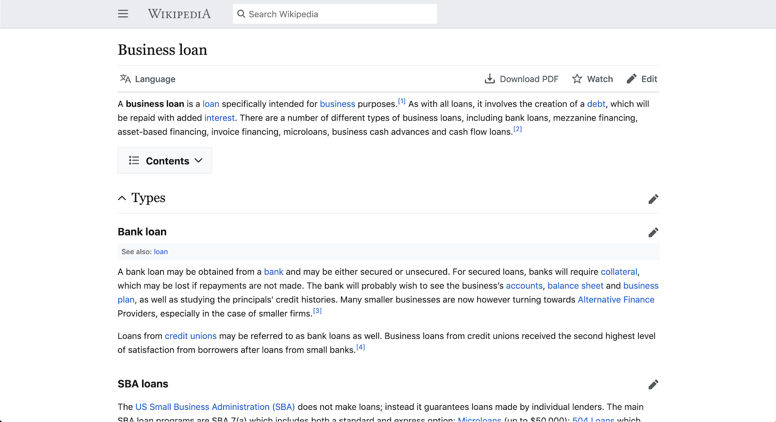 Example page from wikipedia