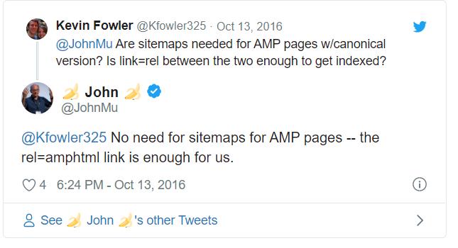 - Les sitemaps sont nécessaires pour les pages AMP avec version canonique? Est-ce que link=rel entre les deux est suffisant pour être indexé? - Pas besoin de sitemaps pour les pages AMP – le lien rel=amphtml nous suffit.