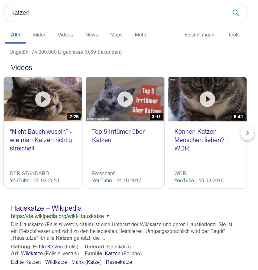 Google-Suchergebnis: Videos ganz oben