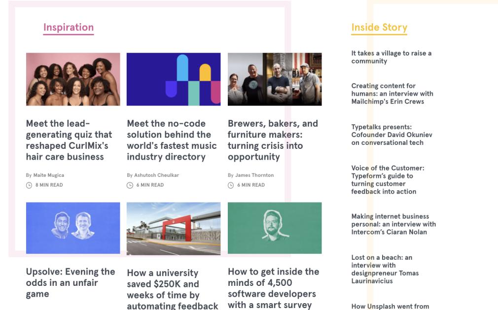 Content marketing examples - Typeform