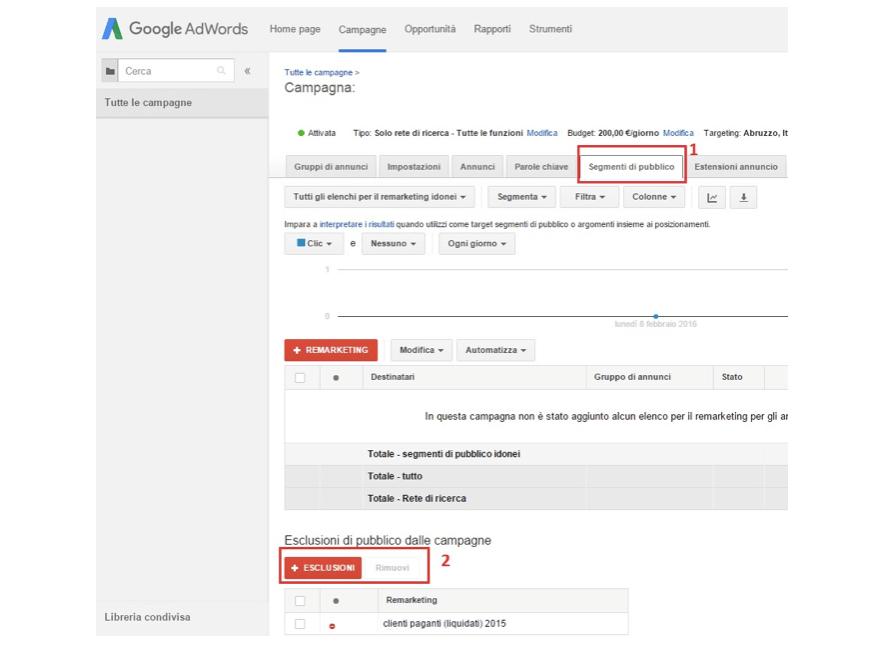 Come escludere contatti delle liste dalle tue campagne AdWords