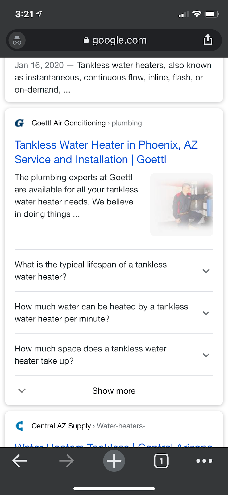 tankless water heater mobile serp