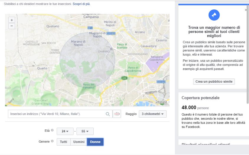 Facebook ads local: Scegliere con cura il raggio di azione