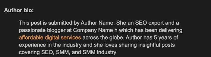 link tossico nella bio dell'autore di un guest post