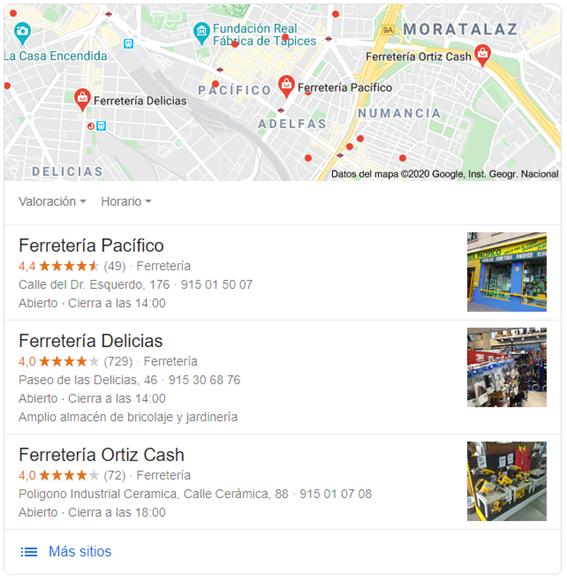 Reseñas en Google My Business - Ejemplo ferreterías
