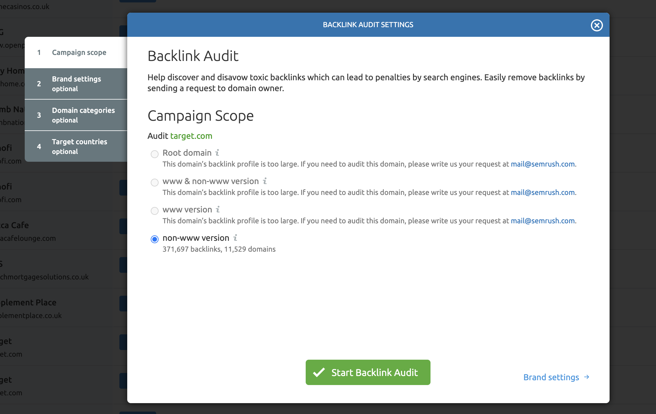 Set Up Link Audit