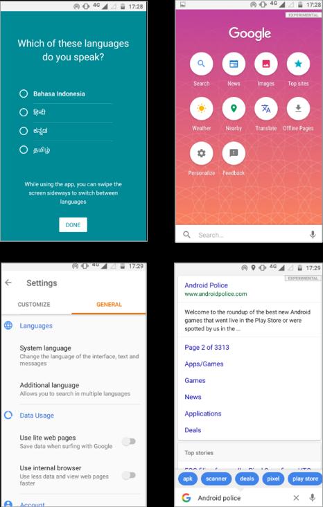 New Google Search Lite app design
