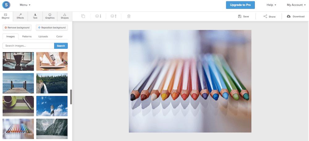 Scegli il miglior background con il programma di grafica gratuito Snappa